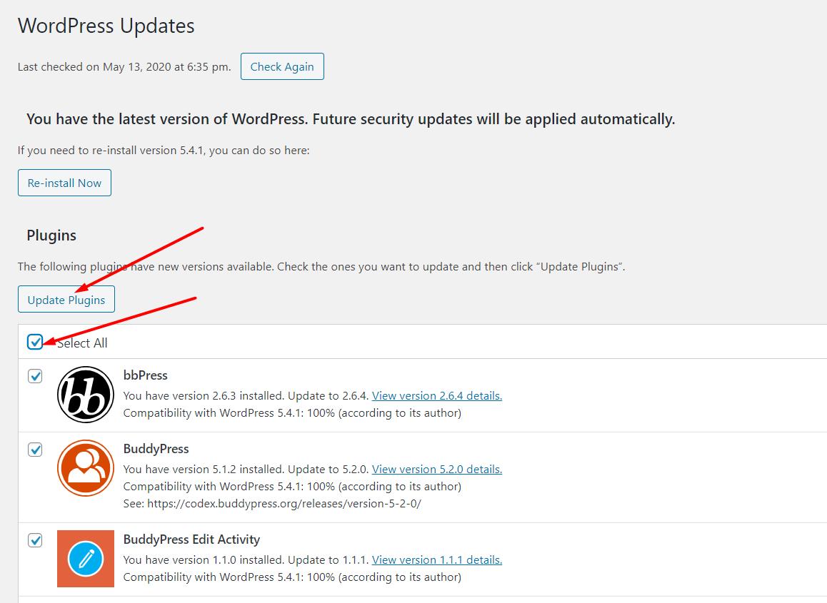 WP updates step 2